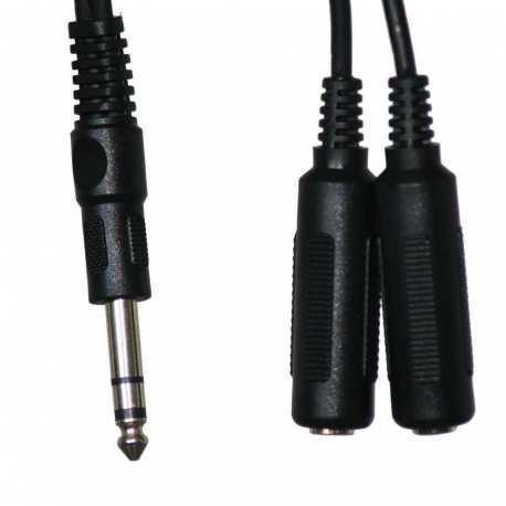Câble stéréo Y jack 6.35mm Mâle à double jack 6.35mm Mâle 1.8 mètres