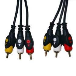 Câble Audio Mâle 3x RCA vers Mâle 3x RCA 1.8 mètres plaqué OR