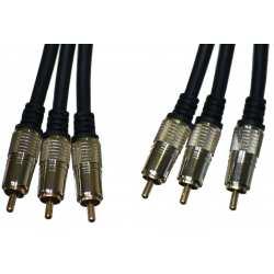 Câble composite Audio vidéo Mâle 3x RCA vers Mâle 3x RCA 3.6 mètres plaqué OR