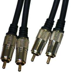 Câble Audio Mâle 2x RCA vers Mâle 2x RCA 1.8 mètres plaqué OR