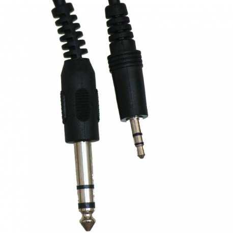 Câble blindé son jack 3.5mm mono Mâle à jack 6.35mm stéréo Mâle 1.8 mètres