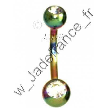 PIERCING Arcade 2 boules titanium avec brillants