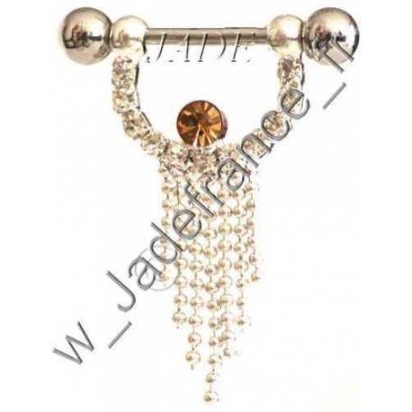 Piercing Sein Nipple téton brillant saumon