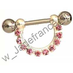 Piercing Sein Nipple téton brillants rose