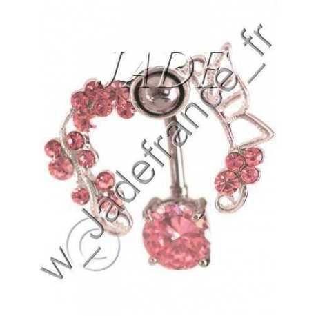 Piercing nombril contour Superbe brillants rose