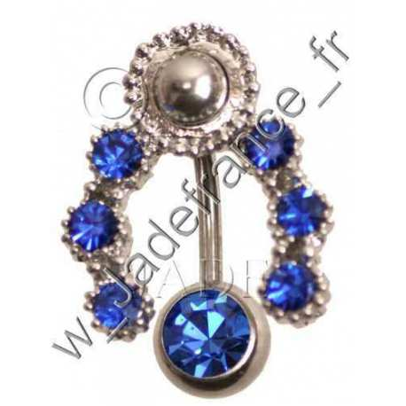 Piercing nombril contour superbe brillants bleu
