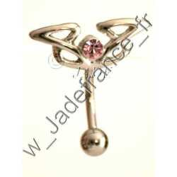 Piercing nombril upper tribal brillants rose ZC
