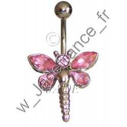 Piercing nombril libellule rose Superbe brillants ZC