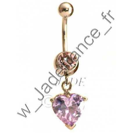 Piercing nombril superbe brillantsCœur pendant ZC